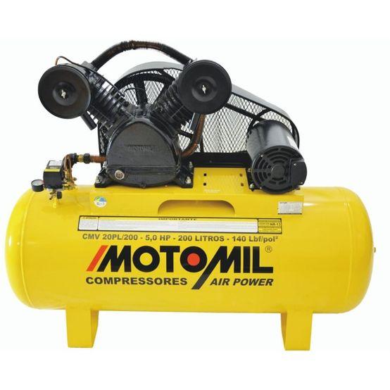 Compressor de Ar Motomil 5 HP 2 Polos Trifasico CMV-20PL/200 140 Libras